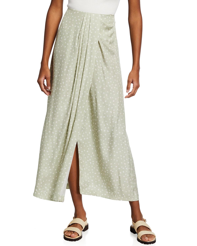 Stone Dot Draped Long Skirt