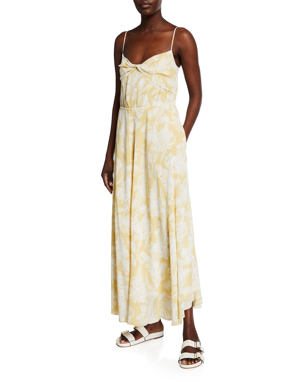 Wheat Twist-Knot Drape Maxi Dress