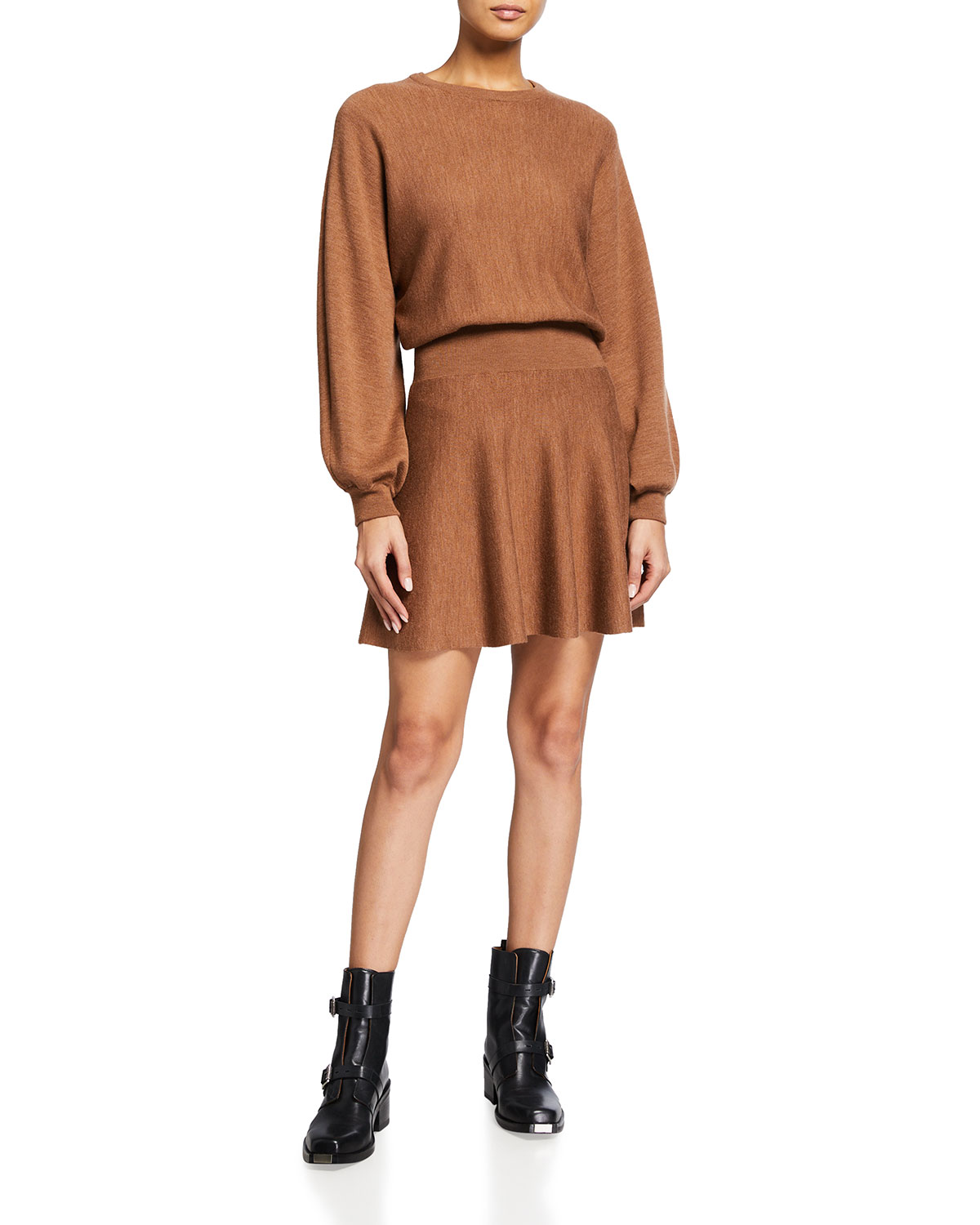 Alice And Olivia MURRAY BLOUSON-SLEEVE FIT-AND-FLARE DRESS