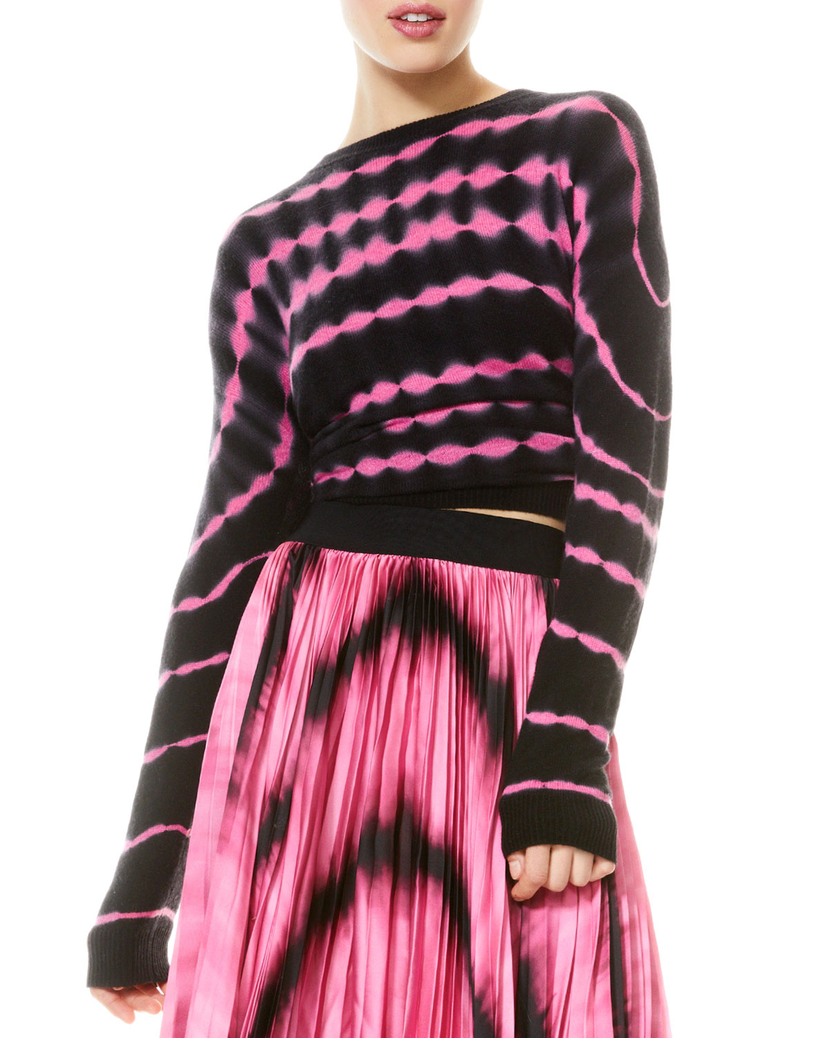 Alice And Olivia GLEESON TIE DYE CASHMERE SWEATER