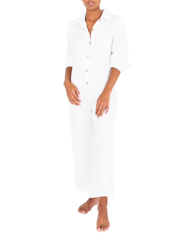 Long-Sleeve Linen-Blend Ankle Jumpsuit