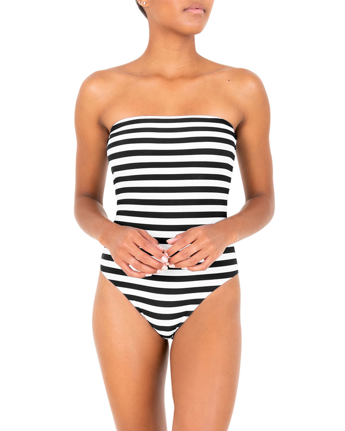 The Ritts Strapless Stripe One-Piece Swimsuit