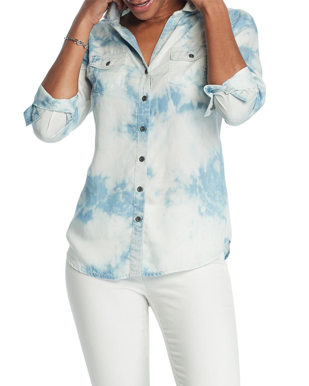 Nic + Zoe Shirts TIE DYE DENIM SHIRT
