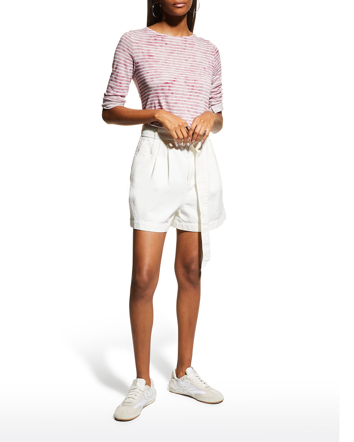 Striped Linen Boat-Neck Top
