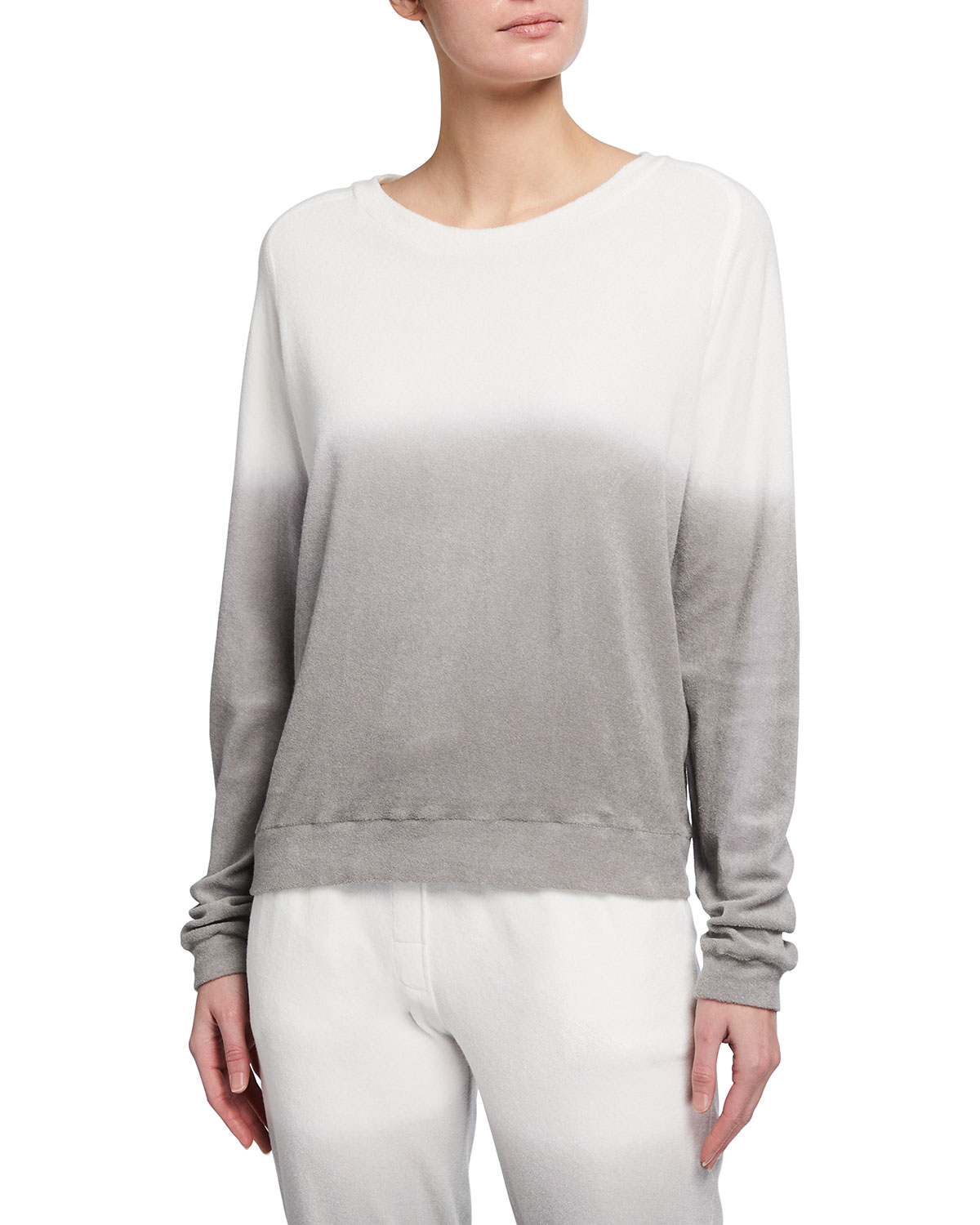 Majestic OMBRE COTTON TERRY CREWNECK PULLOVER