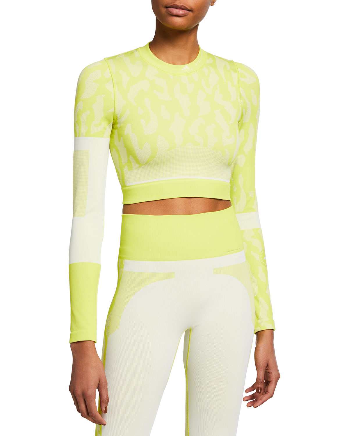 Adidas By Stella Mccartney Cottons LONG-SLEEVE PRINTED ACTIVE CROP TOP