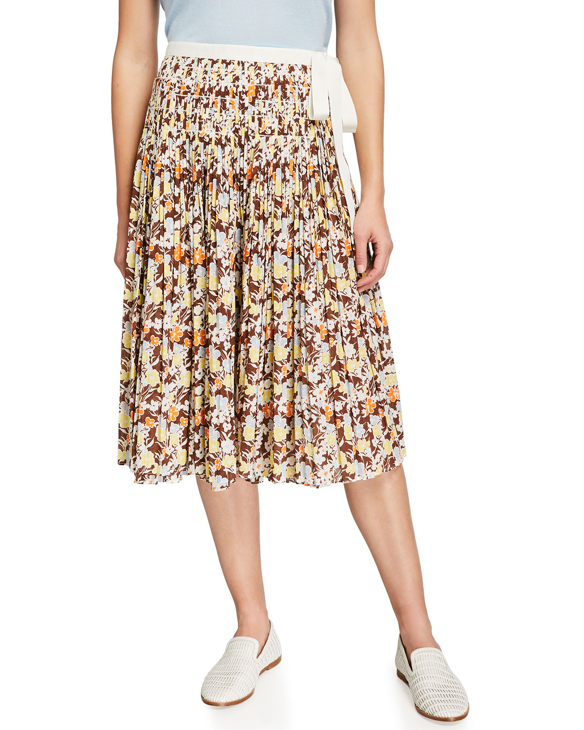 Tory Burch Cottons PLEATED TIE WRAP VOILE SKIRT