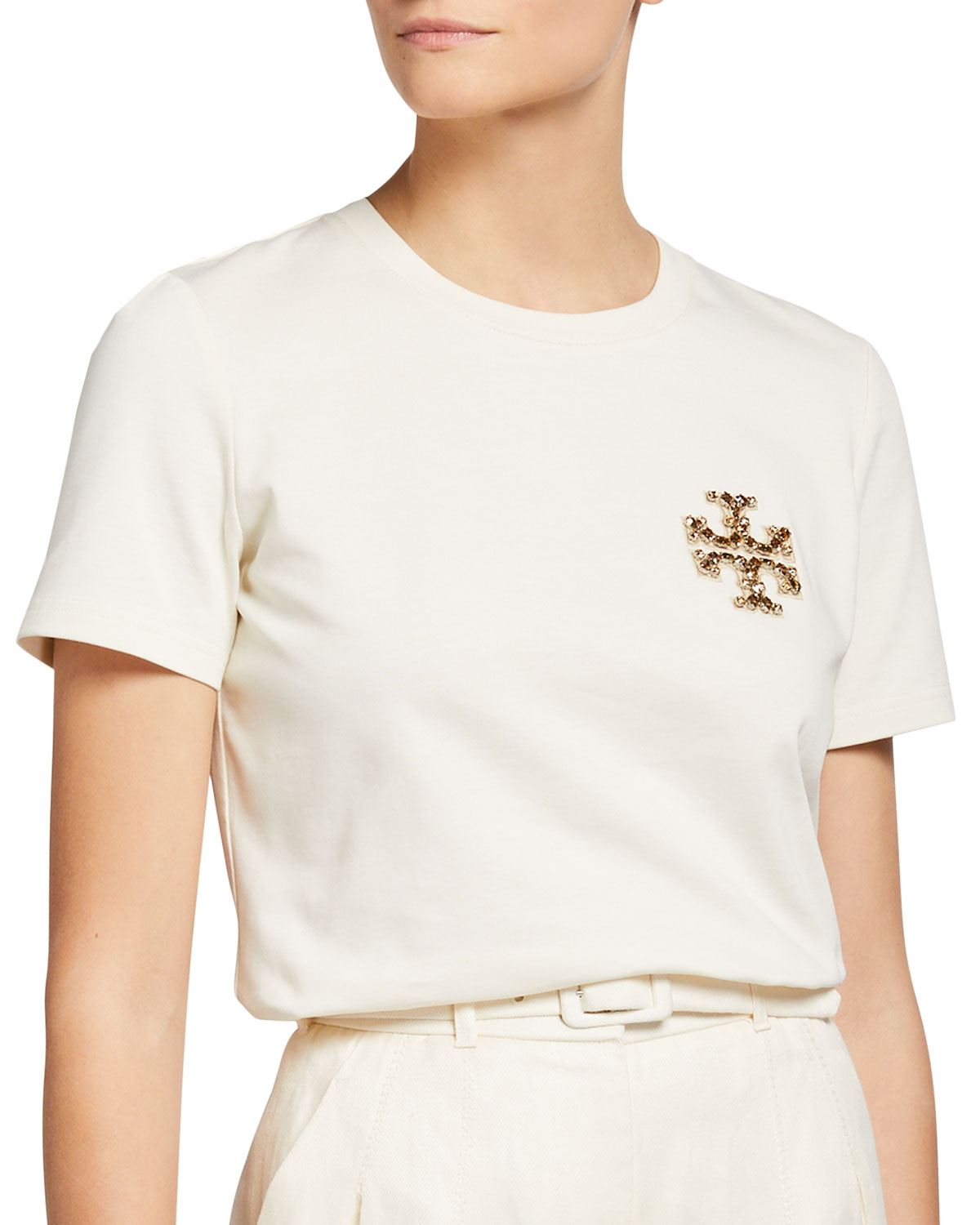 Tory Burch BEJEWELED LOGO COTTON T-SHIRT