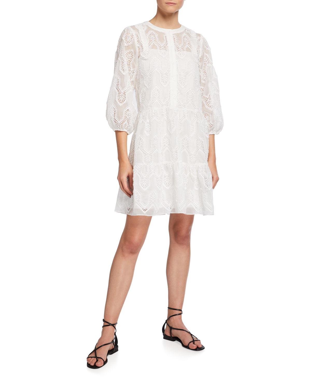 Shoshanna TALIA 3/4-SLEEVE EYELET DRESS