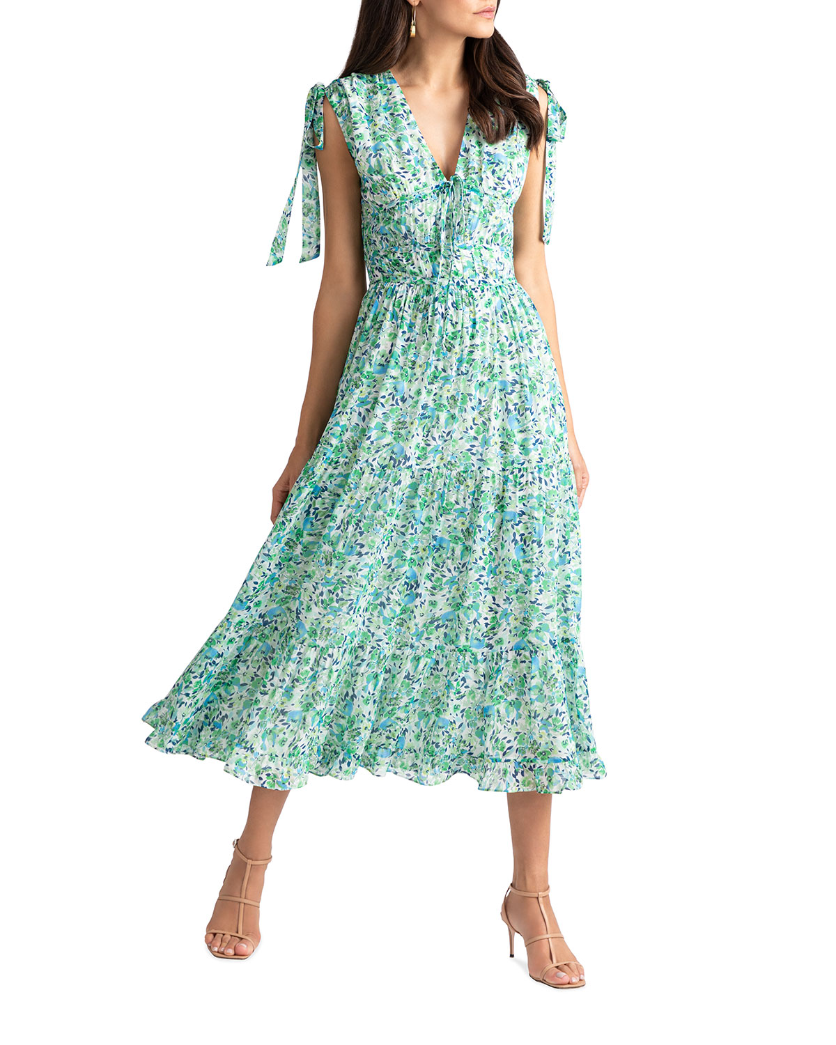 Shoshanna HELENA MISTY FLORAL MIDI DRESS