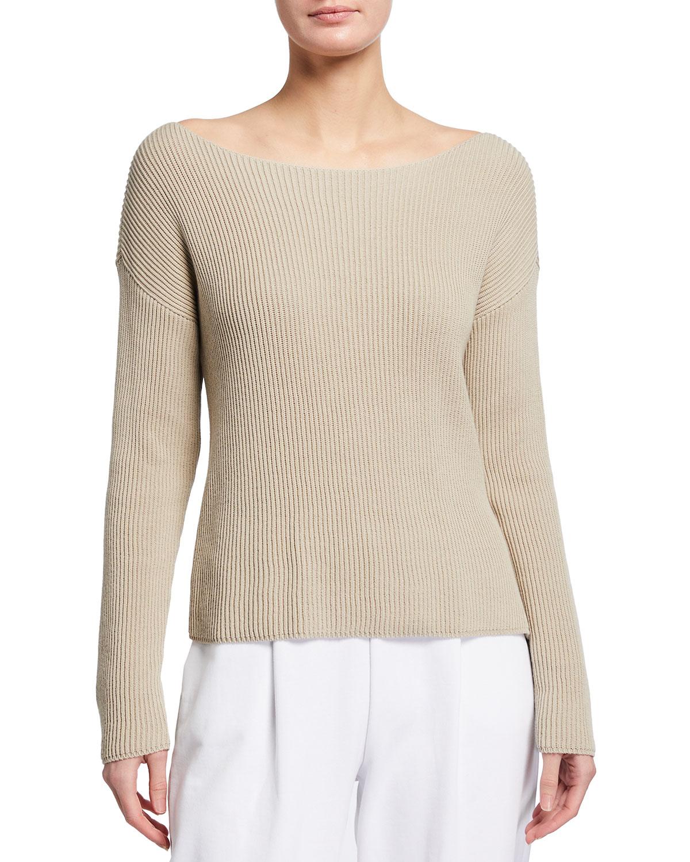 Max Mara Sweatshirts BOAT-NECK RIBBED SWEATER