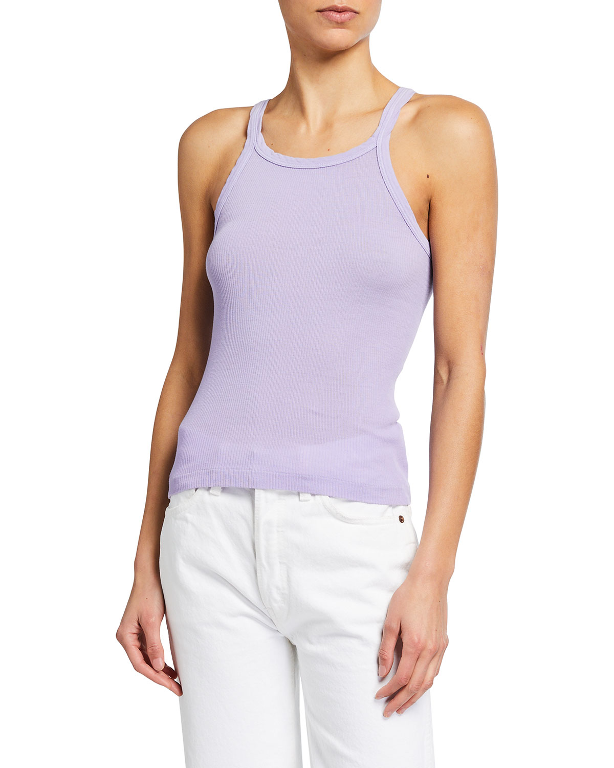 Re/done Downs RIBBED SCOOP-NECK FITTED TANK