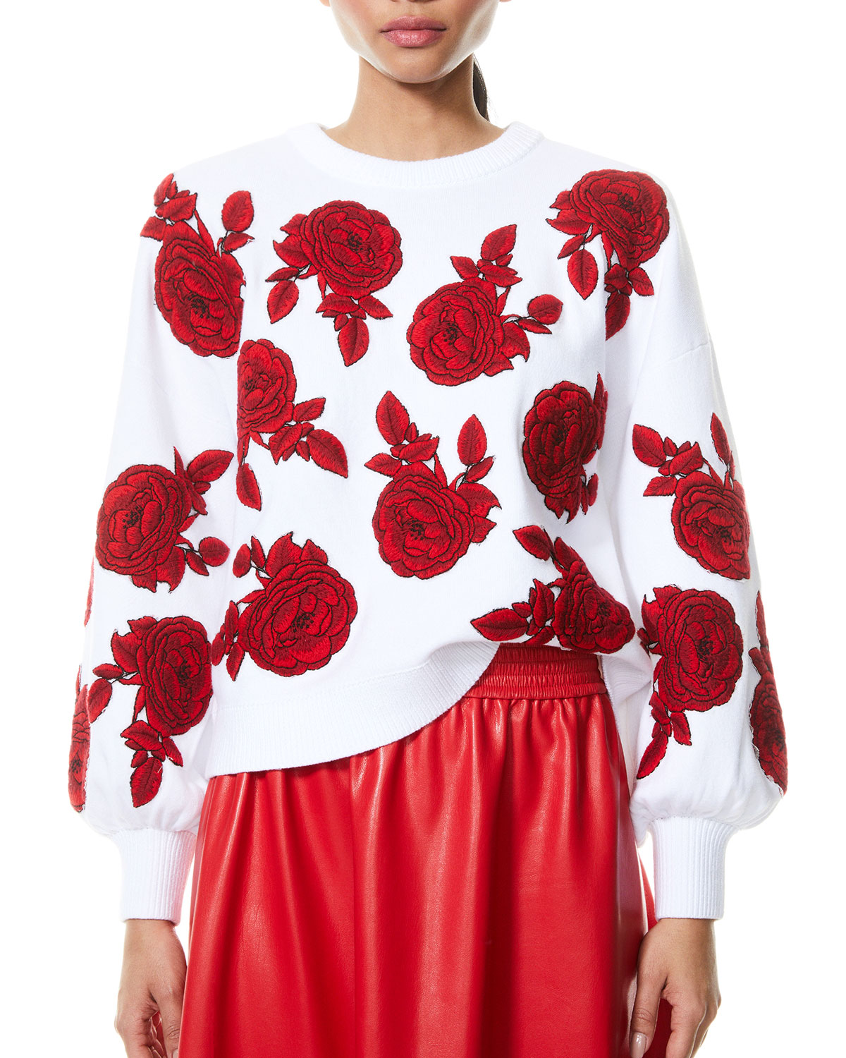 Alice And Olivia CARWEN EMBROIDERED BALLOON-SLEEVE PULLOVER