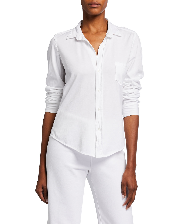 Barry Luxe Knit Button-Up Shirt