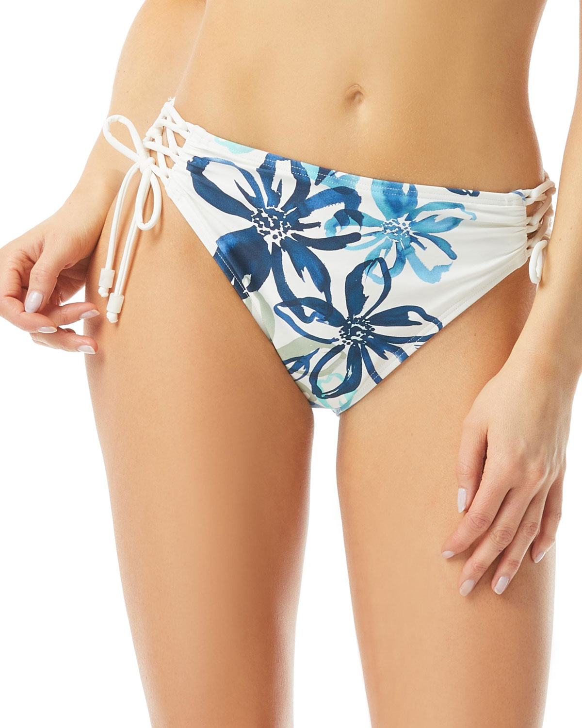 Floral Ruched Lace-Up Bikini Bottoms