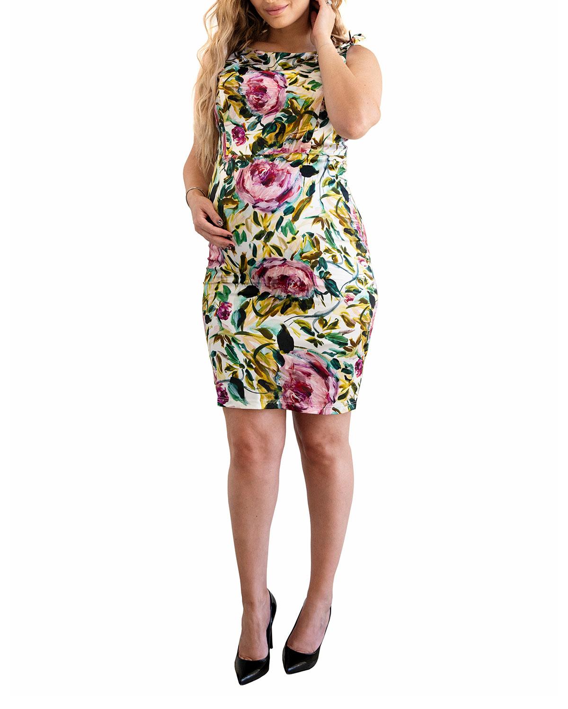 Maternity Floral Stretch Silk Sheath Dress