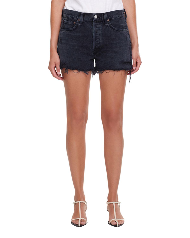 Agolde Jeans PARKER FRAYED DENIM SHORTS