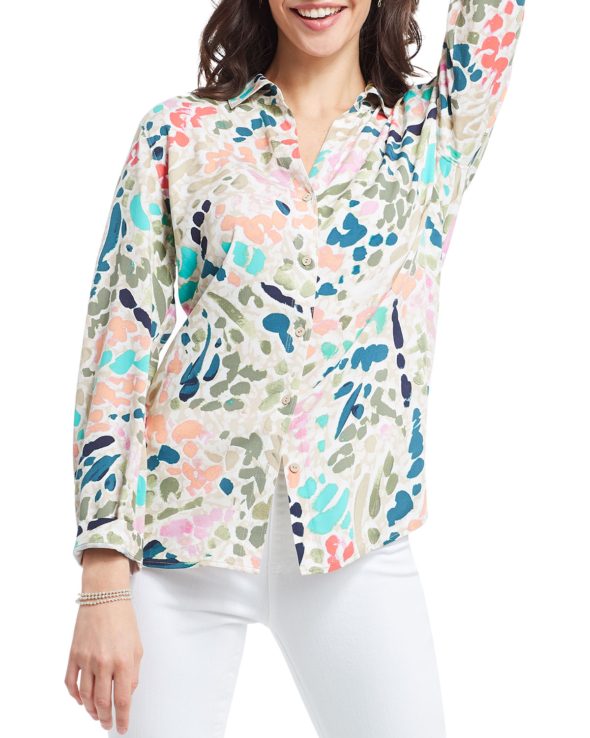 Nic + Zoe PLUS SIZE COLOR SPLASH BUTTON-DOWN SHIRT