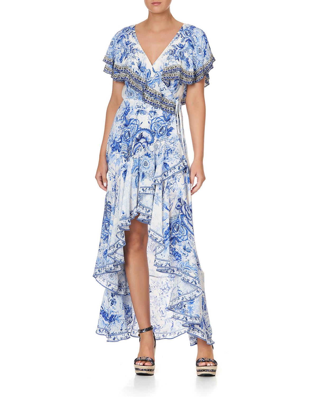 Camilla FRILL-SLEEVE LONG FLORAL SILK DRESS