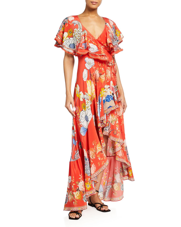 Frill-Sleeve Long Floral Wrap Dress