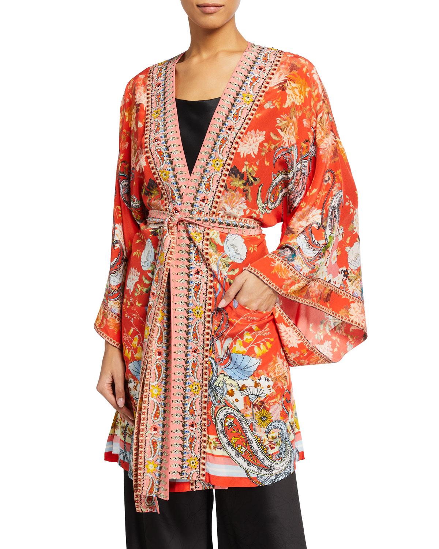 Embellished Silk Kimono with Belt