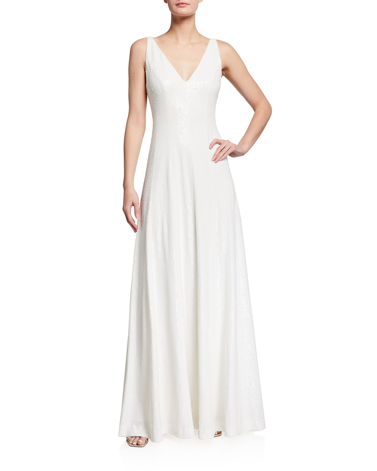 Halston MICRO SEQUIN PANELED SLEEVELESS GOWN