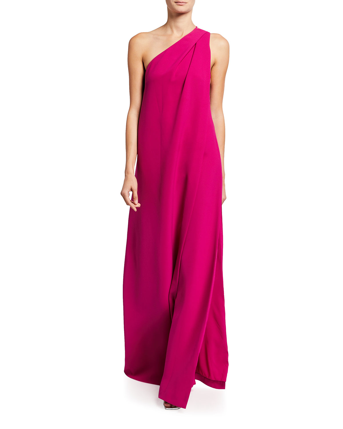 Halston ONE-SHOULDER CREPE GOWN W/ DRAPE OVERLAY