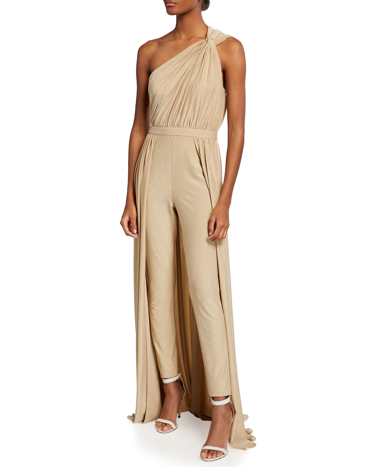 Halston IRA TWISTED ONE-SHOULDER METALLIC JUMPSUIT W/ OVERLAY