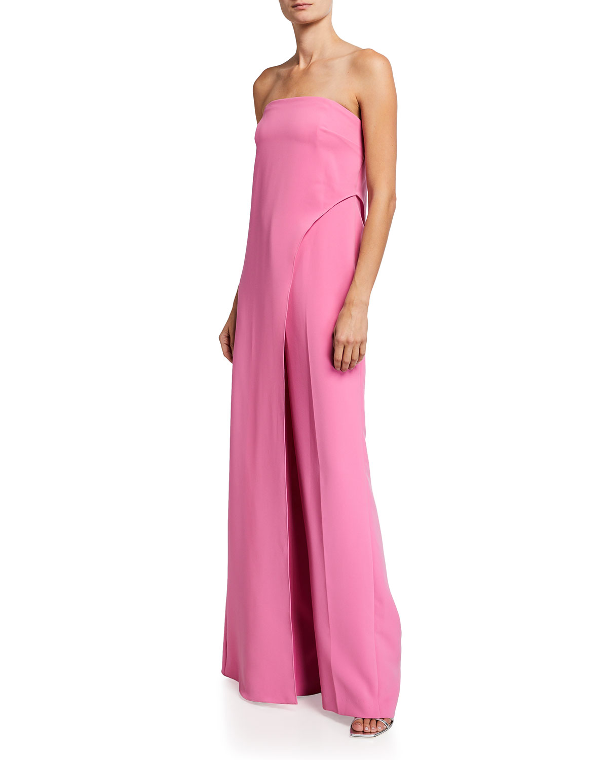 Halston STRAPLESS STRETCH CREPE JUMPSUIT WITH OVERLAY DRAPE