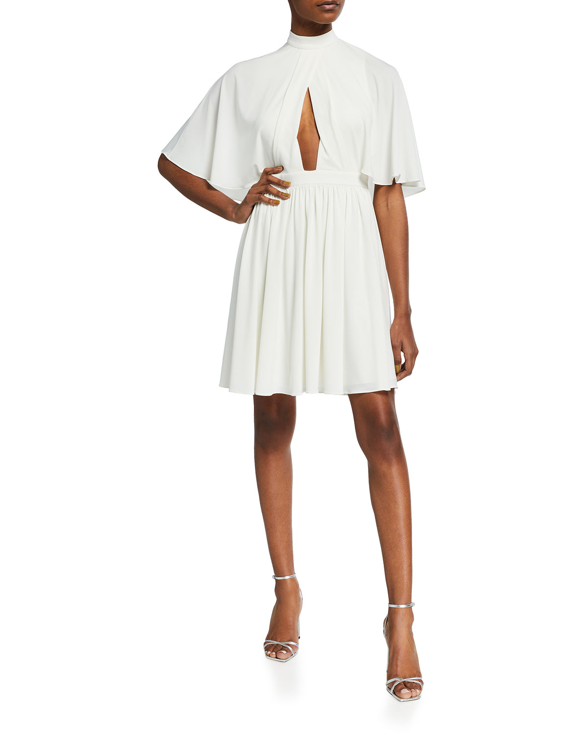 Halston FLOWY CAPE-SLEEVE STRETCH JERSEY DRESS