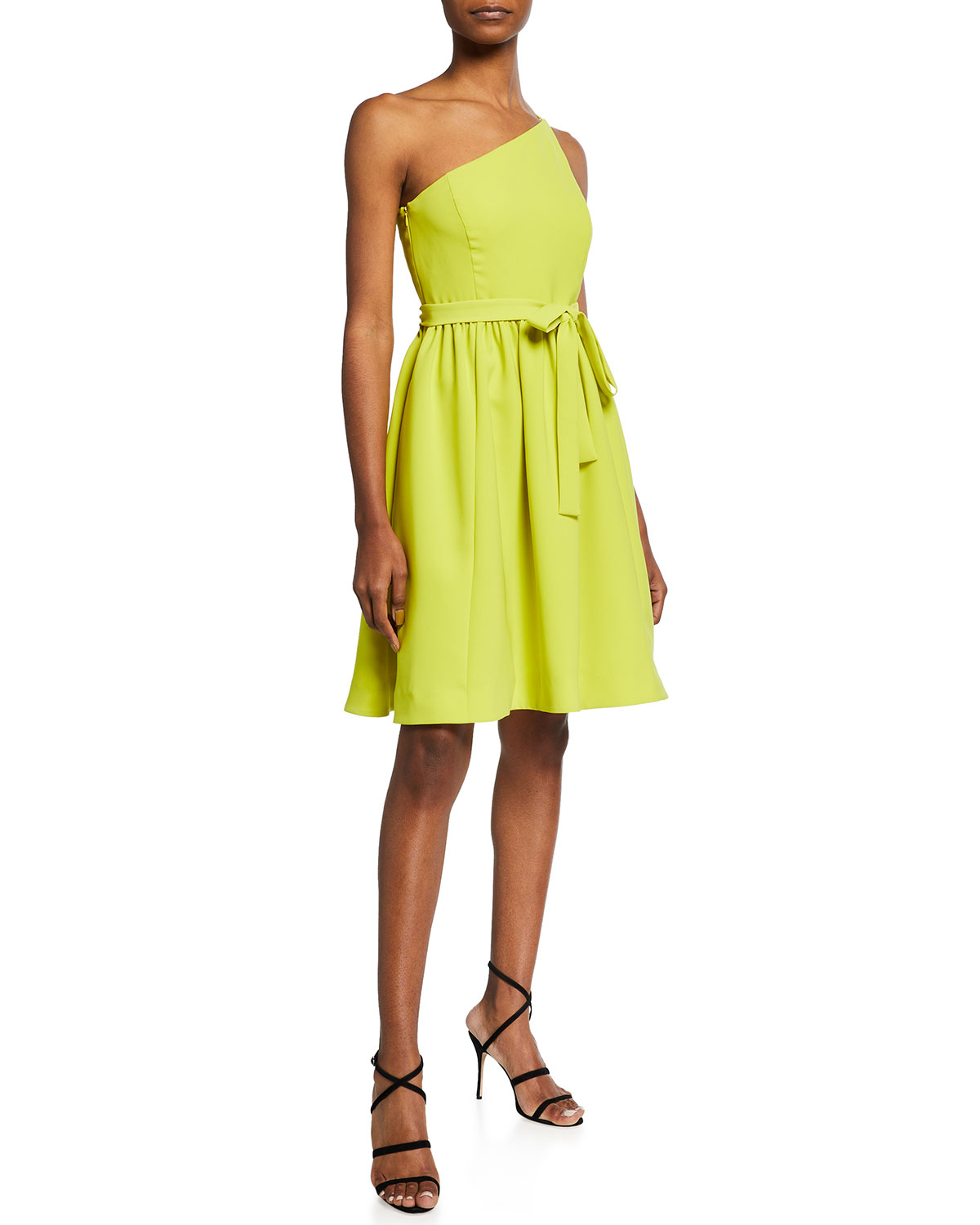Halston ONE-SHOULD BELTED STRETCH CREPE DRESS