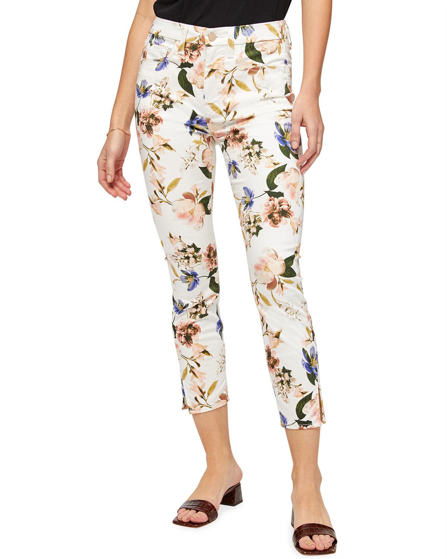 Printed Crop Skinny Jeans with Split Hem