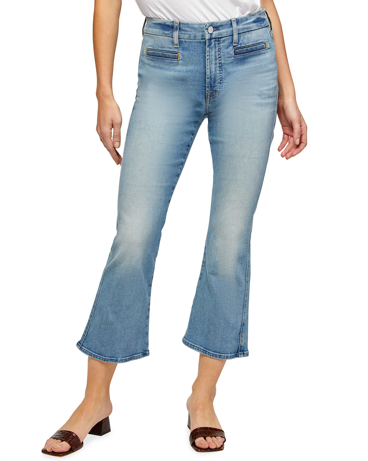 Cropped Kick Flare Jeans with Welt Pockets