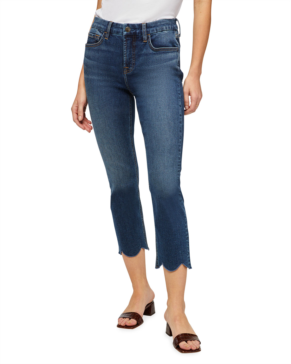 Jen7 STRAIGHT-LEG CROPPED JEANS WITH SCALLOPED HEM