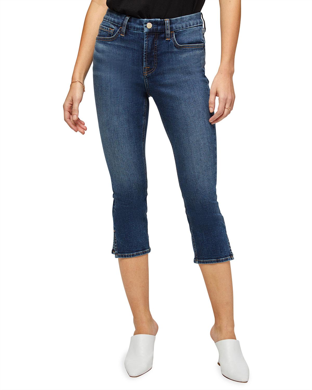 High-Rise Skinny Capri Jeans with Split Hem