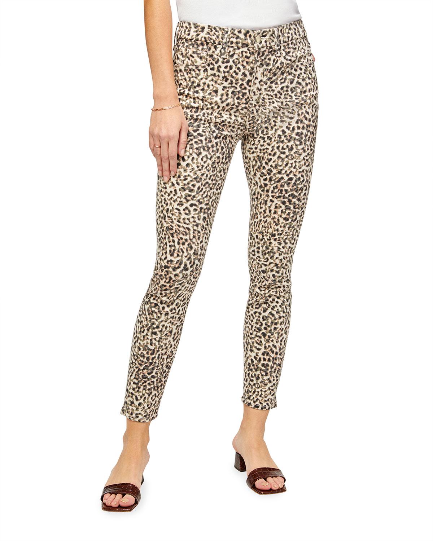 Leopard-Print Ankle Skinny Jeans