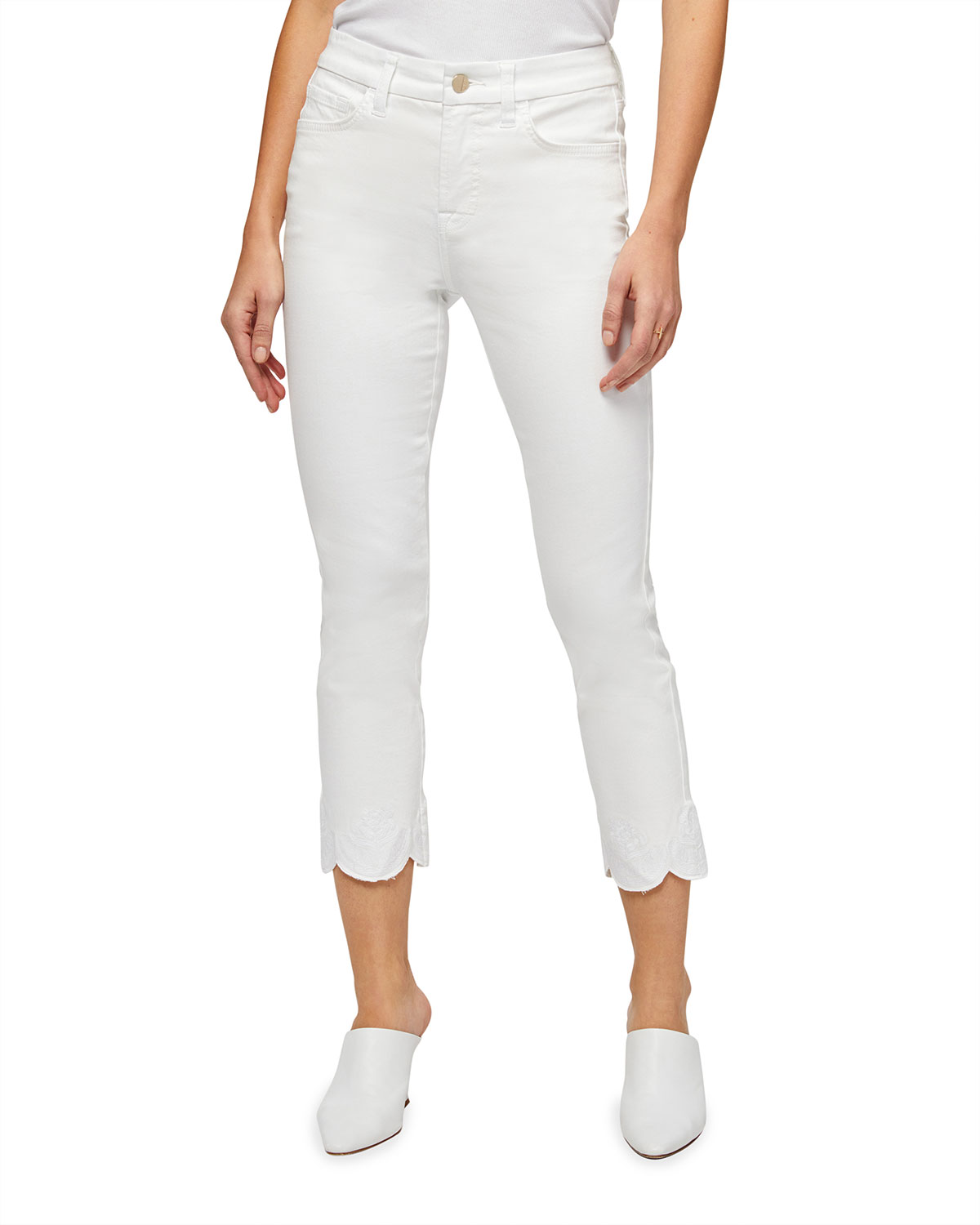 Straight-Leg Ankle Jeans with Scalloped Hem