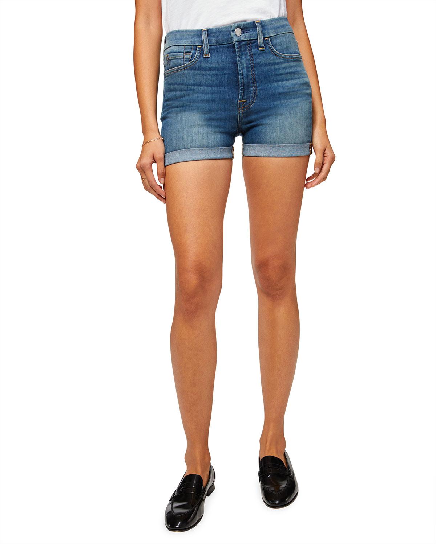 High-Rise Rolled Denim Shorts