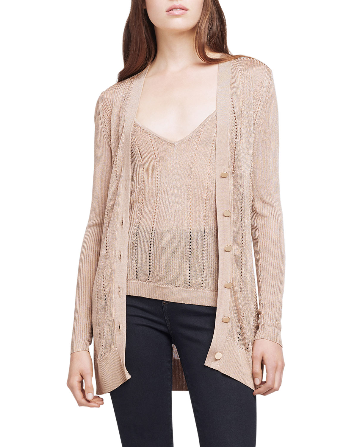L Agence MILLIE BUTTON-DOWN CARDIGAN