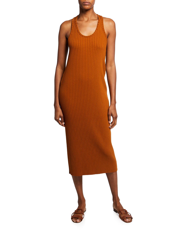 Ribbed Scoop-Neck Midi Tank Dress