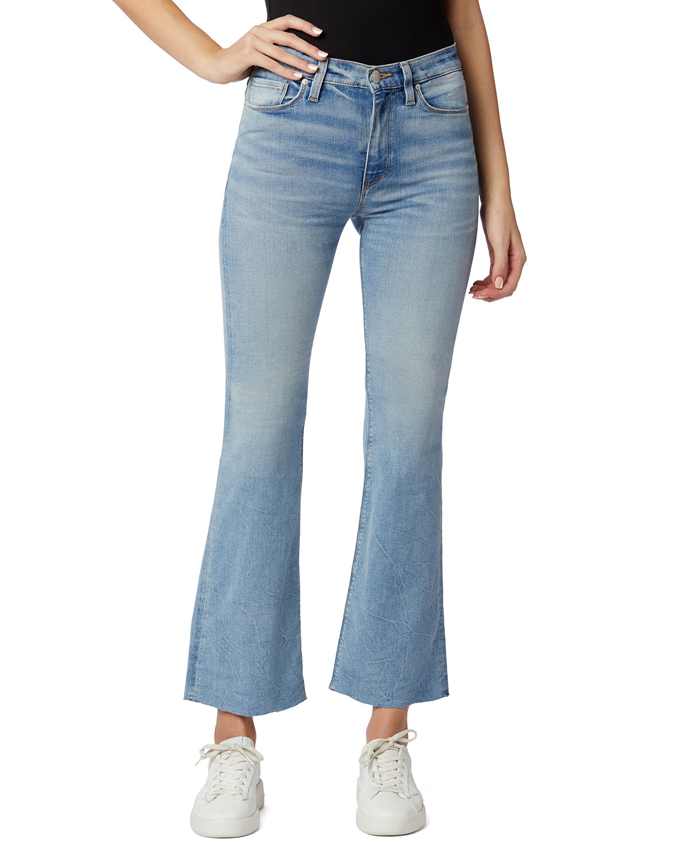Barbara High-Rise Cropped Boot-Cut Jeans w/ Raw Hem