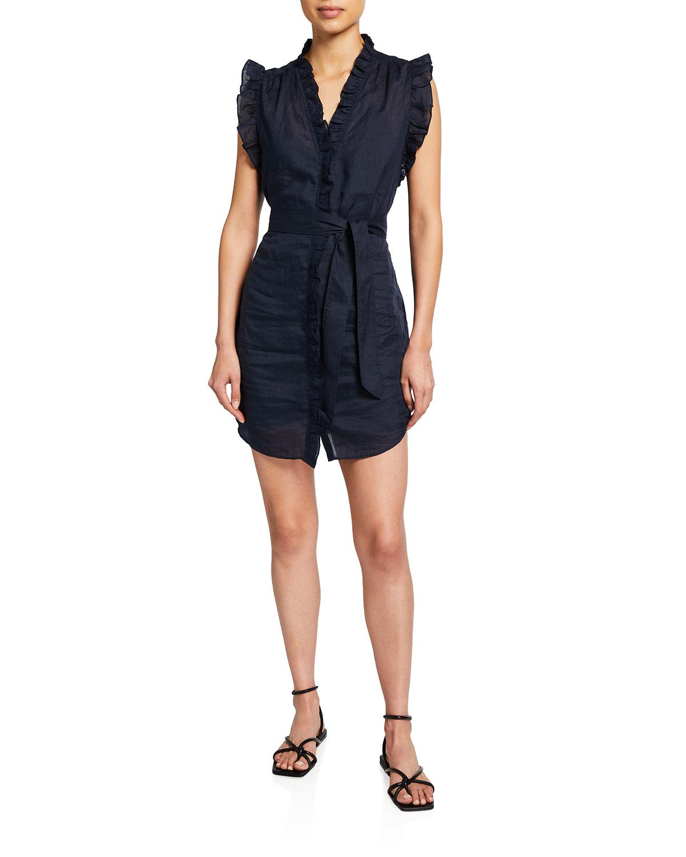 Frame Dresses LAUREN RUFFLE BUTTON-DOWN DRESS WITH BELT