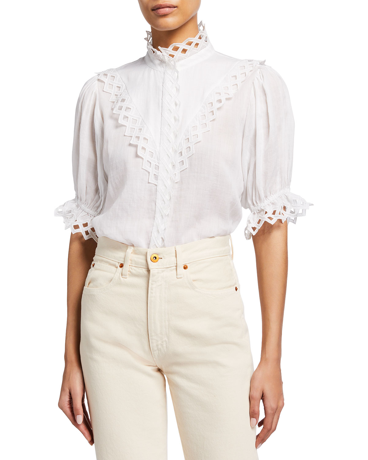 Frame Tops EMBROIDERED HIGH-NECK BLOUSE
