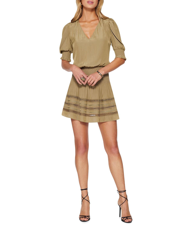 Ramy Brook Mini skirts OLLIE SMOCKED MINI SKIRT