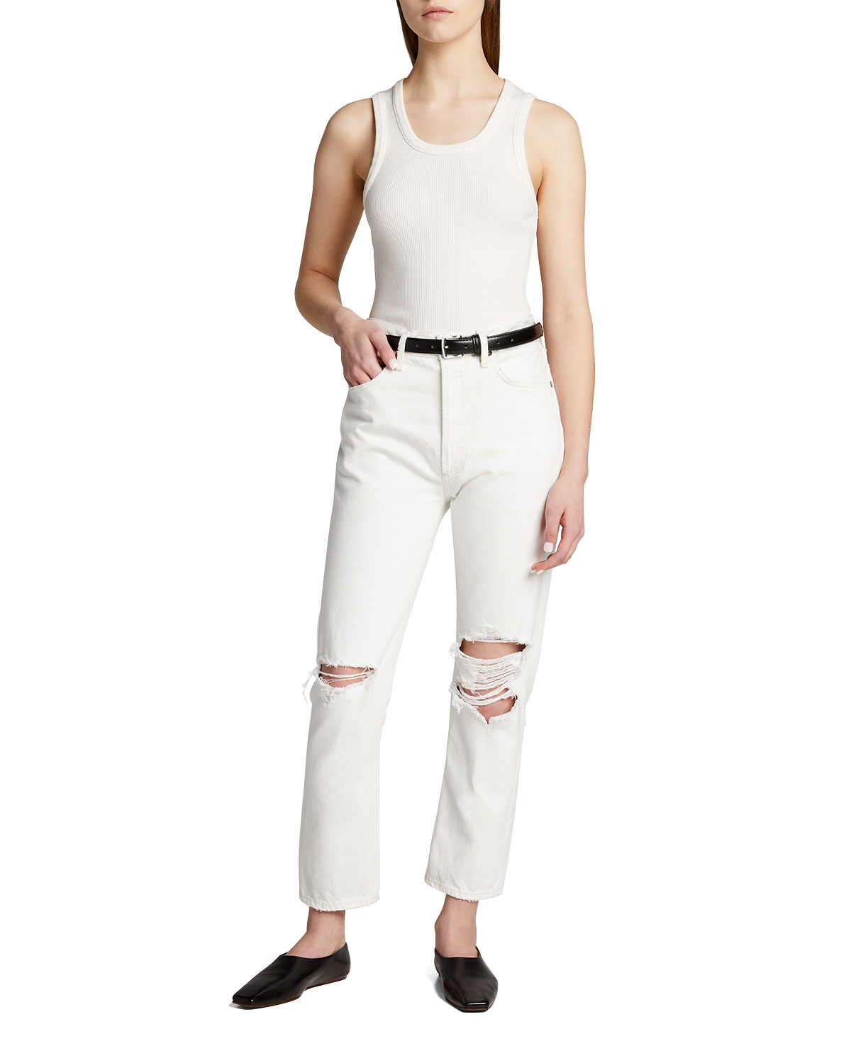 Riley Distressed Mid-Rise Jeans
