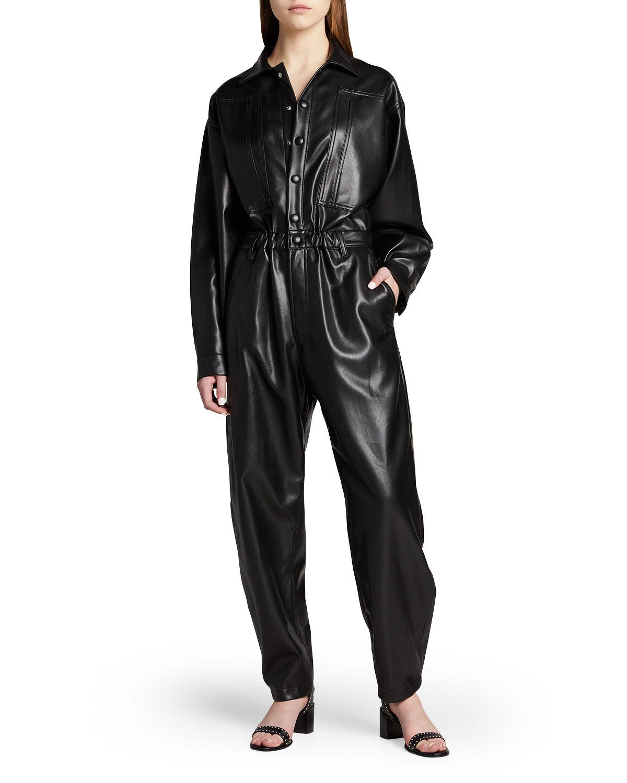 Vegan Leather 80s Jumpsuit