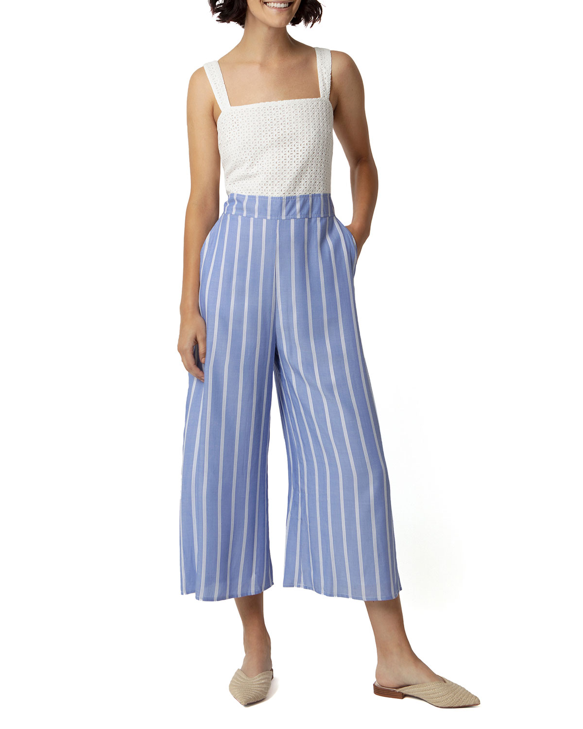 Fleming Chambray Square-Neck Cropped Jumpsuit