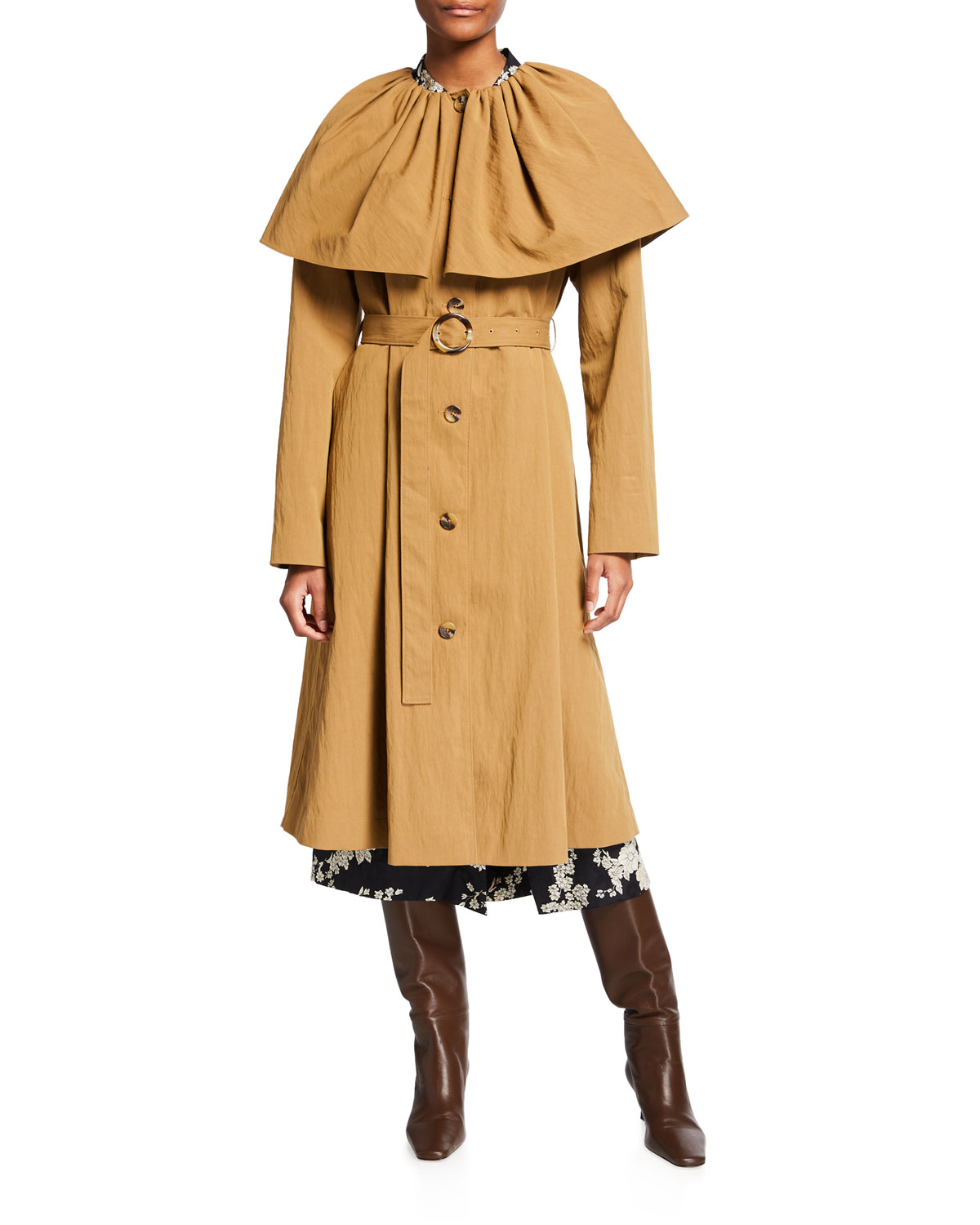 Rebecca Taylor Cottons CAPED COTTON TRENCH COAT