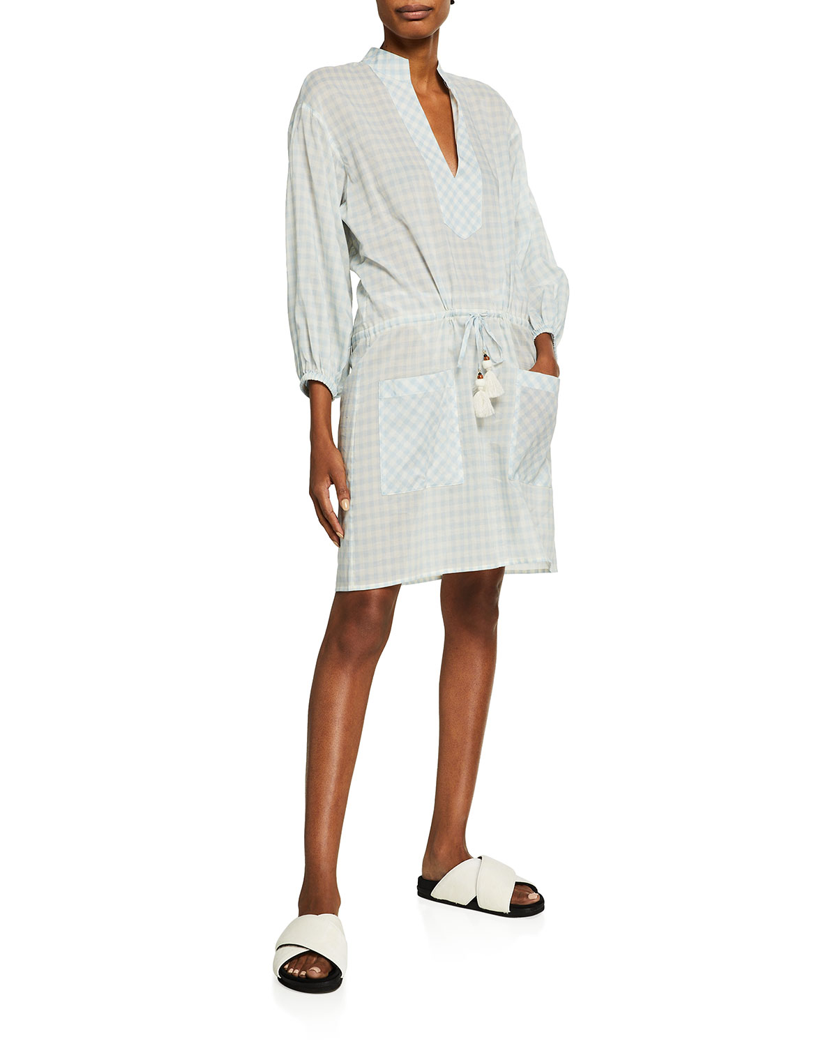 Tory Burch Cottons GINGHAM TUNIC COVERUP DRESS