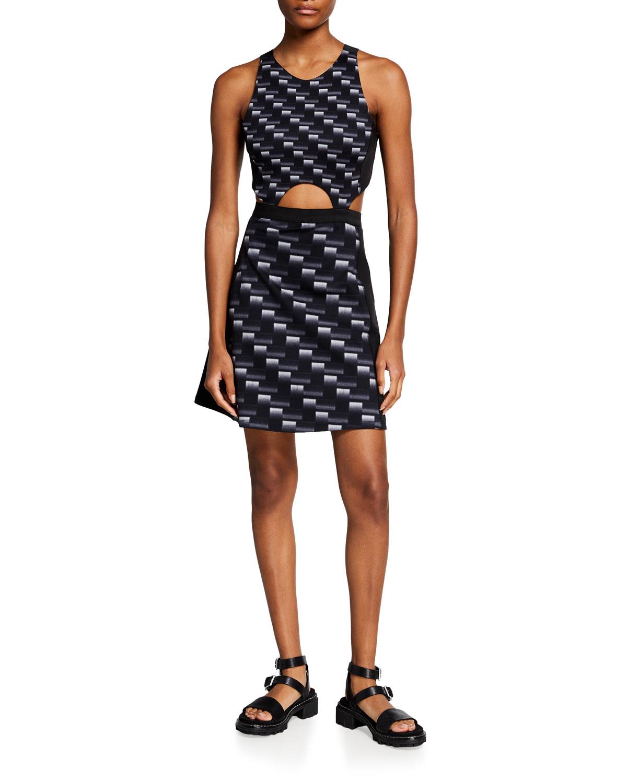Cutout Carbon-Print Dress